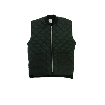 These vests are made of 100% polyester fill quilted nylon outer shell and lined with a warm 100% polyester fleece.  ~Made in Canada  ~#5 YKK zipper  ~ribbed collar  ~drop tail    Available in black    Sizing and Pricing  Sizes S, M, L, and XL ~ $47.07  Sizes XXL - 3XL ~ $50.69