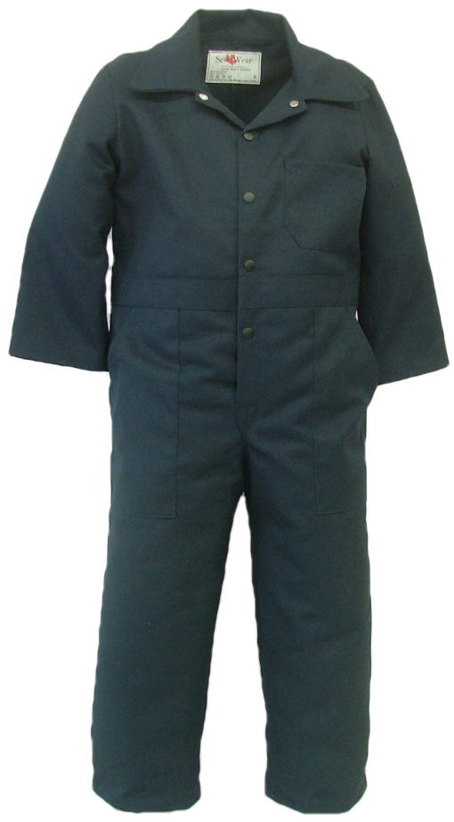 Long sleeve children's coverall. These coveralls are made with a durable 7.5 oz., 65% polyester/35% cotton blend twill fabric   ~Made in Canada  ~one chest pocket  ~two front pockets  ~two rear hip pockets  ~domed front closure  ~machine washable    Colors available:  navy, green, grey, black, tan, pink, camouflage.    Sizes and Pricing:  Size 2 and 4 ~ $28.55  Size 6 and 8 ~ $30.13  Size 10 and 12 ~ $32.23  Size 14 and 16 ~  $35.95    An additional surcharge will apply for camouflage coveralls.