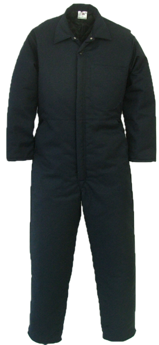Men's Insulated Coveralls. These coveralls are made with a durable 7.5 oz. 65% polyester/35% cotton blend twill fabric and lined with a mid weight 5 oz. 100% polyester quilted lining.  ~Made in Canada  ~one deep chest pocket with pencil slot  ~two front pockets  ~two side openings with snaps, for pant pocket access  ~two rear hip pockets  ~concealed 2-way, heavyweight, YKK #10 zipper   ~2 YKK domes at collar  ~expansion back feature  ~elastic in back  ~machine washable    Colours available:  navy, green, grey, black, tan and camouflage.  An additional surcharge will apply to camouflage.    Sizes and Pricing:  Available in Short and Regular lengths.  Size 36, 38, 40, 42 and 44 ~ $92.52  Size 46, 48, 50, and 52 ~ $98.27  Size 54, 56, 58, 60 and 62 ~ $111.77    Tall coveralls will be subject to a $3.90 surcharge.