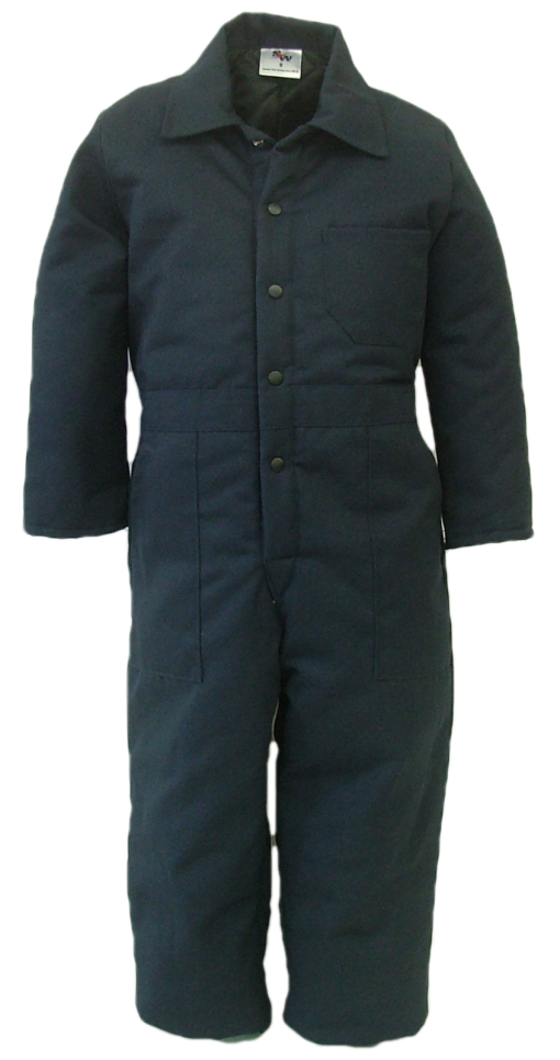 Quilt lined coveralls for children. These coveralls are made with a durable 7.5 oz., 65% polyester/35% cotton blend twill fabric and lined with a 5 oz. 100% polyester quilted lining.  ~Made in Canada  ~one chest pocket  ~two front pockets  ~two rear hip pockets  ~domed front closure  ~machine washable    Colours available:  navy, green, grey, black, tan, pink, and camouflage.    Sizes and Pricing:  Size 2 and 4 ~ $47.97  Size 6 and 8 ~ $51.97  Size 10 and 12 ~ $55.82  Size 14 and 16 ~ $58.03    An additional surcharge will apply for camouflage coveralls.