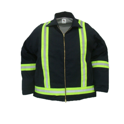 "Durable work jacket. These safety jackets are made of  7.5 oz. 65%polyeser/35% cotton blend twill fabric and lined with a 65/35 polycotton blend poplin fabric  ~Made in Canda  ~2-way brass YKK zipper  ~2 front insert pockets  ~adjustable domed cuffs  ~machine washable  ~2"" safety striping, 2 stripes down front, full back X band on arms and waist.    Available in: navy,     Sizes and Pricing:  Size: S, M, L, XL ~ $85.31  Size XXL, 3XL ~ $88.17    Tall sizes will have an additional $4.95 surcharge    Also Available:   Safety Quilt Lined Work Jacket. Item  #S1020  These jackets are made of  7.5 oz. 65% polyester/35% cotton blend twill fabric and lined with a 5 oz. 100% polyester quilted lining.  ~Made in Canada  ~2-way brass YKK zipper  ~2 front insert pockets  ~adjustable domed cuffs  ~machine washable  ~2"" safety striping, 2 stripes down front, full back X band on arms and waist.    Available in navy     Sizes and Pricing:  Size: S, M, L, XL ~ $100.73  Size XXL, 3XL ~ $103.77    Tall sizes will have an additional $4.95 surcharge"