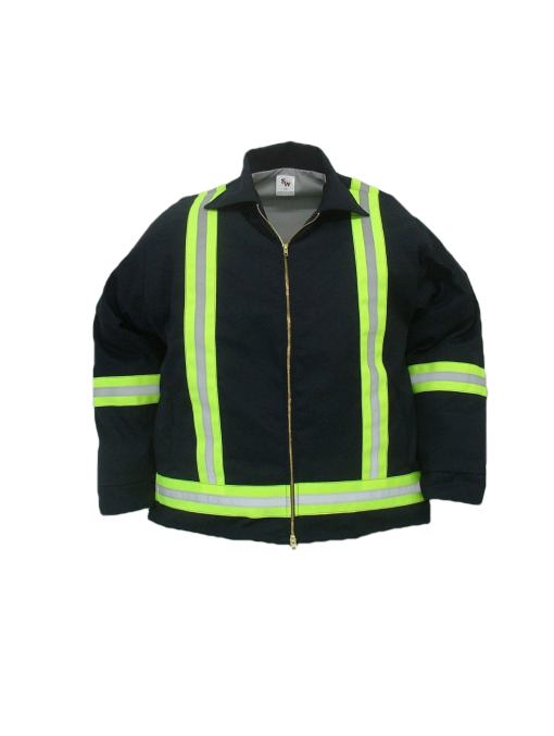 """Durable work jacket. These safety jackets are made of  7.5 oz. 65%polyeser/35% cotton blend twill fabric and lined with a 65/35 polycotton blend poplin fabric  ~Made in Canda  ~2-way brass YKK zipper  ~2 front insert pockets  ~adjustable domed cuffs  ~machine washable  ~2"""" safety striping, 2 stripes down front, full back X band on arms and waist.    Available in: navy,     Sizes and Pricing:  Size: S, M, L, XL ~ $85.31  Size XXL, 3XL ~ $88.17    Tall sizes will have an additional $4.95 surcharge    Also Available:   Safety Quilt Lined Work Jacket. Item  #S1020  These jackets are made of  7.5 oz. 65% polyester/35% cotton blend twill fabric and lined with a 5 oz. 100% polyester quilted lining.  ~Made in Canada  ~2-way brass YKK zipper  ~2 front insert pockets  ~adjustable domed cuffs  ~machine washable  ~2"""" safety striping, 2 stripes down front, full back X band on arms and waist.    Available in navy     Sizes and Pricing:  Size: S, M, L, XL ~ $100.73  Size XXL, 3XL ~ $103.77    Tall sizes will have an additional $4.95 surcharge"""