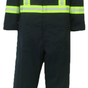 """Long sleeve safety coveralls. These coveralls are made with a durable 7.5 oz., 65% polyester/35% cotton blend twill fabric.  ~Made in Canada  ~two deep chest pockets, one with pencil slot  ~two front pockets  ~two side opening for pant pocket access  ~two rear hip pockets  ~concealed 2-way #5 YKK brass zipper   ~2 YKK dome fasteners at collar  ~expansion back feature  ~2"""" reflective striping  two stripes on front, X on back, bands on arms, legs and waistband.    Colors available:  Navy     Sizing and Pricing:  Size 36, 38, 40, 42, and 44 ~ $92.11  Size 46, 48, 50 and 52 ~ $105.43  Size 54, 56, 58, 60 and 62 ~ $120.98    A $4.95 surcharge will apply to tall coveralls.    Also Available:  Men's Insulated Safety Coveralls. These coveralls are made with a durable 7.5 oz. 65% polyester/35% cotton blend twill fabric and lined with a mid weight 5 oz. 100% polyester quilted lining.  ~Made in Canada  ~one deep chest pocket with pencil slot  ~two front pockets  ~two side openings with snaps, for pant pocket access  ~two rear hip pockets  ~concealed 2-way, heavyweight, YKK #10 zipper   ~2 YKK domes at collar  ~expansion back feature  ~elastic in back  ~machine washable  ~2"""" reflective striping  two stripes on front, X on back, bands on arms, legs and waistband.    Available in navy.    Sizes and Pricing:  Available in Short and Regular lengths.  Size 36, 38, 40, 42 and 44 ~ $142.52  Size 46, 48, 50, and 52 ~ $148.27  Size 54, 56, 58, 60 and 62 ~ $161.77    Tall coveralls will be subject to a $3.90 surcharge."""