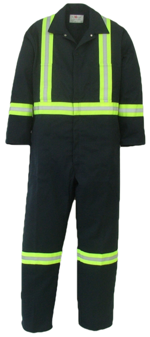 "Long sleeve safety coveralls. These coveralls are made with a durable 7.5 oz., 65% polyester/35% cotton blend twill fabric.  ~Made in Canada  ~two deep chest pockets, one with pencil slot  ~two front pockets  ~two side opening for pant pocket access  ~two rear hip pockets  ~concealed 2-way #5 YKK brass zipper   ~2 YKK dome fasteners at collar  ~expansion back feature  ~2"" reflective striping  two stripes on front, X on back, bands on arms, legs and waistband.    Colors available:  Navy     Sizing and Pricing:  Size 36, 38, 40, 42, and 44 ~ $92.11  Size 46, 48, 50 and 52 ~ $105.43  Size 54, 56, 58, 60 and 62 ~ $120.98    A $4.95 surcharge will apply to tall coveralls.    Also Available:  Men's Insulated Safety Coveralls. These coveralls are made with a durable 7.5 oz. 65% polyester/35% cotton blend twill fabric and lined with a mid weight 5 oz. 100% polyester quilted lining.  ~Made in Canada  ~one deep chest pocket with pencil slot  ~two front pockets  ~two side openings with snaps, for pant pocket access  ~two rear hip pockets  ~concealed 2-way, heavyweight, YKK #10 zipper   ~2 YKK domes at collar  ~expansion back feature  ~elastic in back  ~machine washable  ~2"" reflective striping  two stripes on front, X on back, bands on arms, legs and waistband.    Available in navy.    Sizes and Pricing:  Available in Short and Regular lengths.  Size 36, 38, 40, 42 and 44 ~ $142.52  Size 46, 48, 50, and 52 ~ $148.27  Size 54, 56, 58, 60 and 62 ~ $161.77    Tall coveralls will be subject to a $3.90 surcharge."