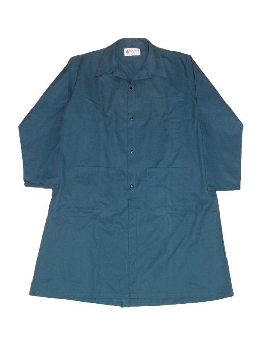 These shop coats are made with a 7.5 oz. 65% polyester/35% cotton twill fabric.  ~Made in Canada  ~4 domes front closure  ~1 chest pocket  ~2 front patch pockets  ~side openings for pant pocket access  ~center back vent    Available in navy, charcoal, black and green.    Sizing and Pricing:  Sizes 36, 38, 40, 42, and 44 ~ $36.40  Sizes 46, 48, 50, and 52 ~ $39.37  Sizes 54, 56, 58, 60 and 62 ~ $43.31