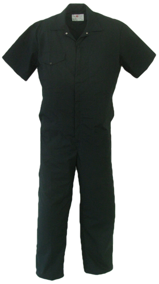 Short Sleeve coveralls. All coveralls are made with a lightweight 65% polyester/35% cotton blend poplin fabric.  ~Made in Canada  ~two deep chest pocket (one with flap closure, one with pencil slot  ~two front pockets  ~two side openings for pant pocket access  ~two rear hip pockets  ~elastic in back  ~concealed 2-way, brass #5 YKK zipper   ~2 YKK domes at collar  ~expansion back feature  ~machine washable    Colours available:  navy, green, grey, black and tan.    Sizes and Pricing:  Available in Short and Regular lengths.  Size 36, 38, 40, 42 and 44 ~ $47.27  Size 46, 48, 50, and 52 ~ $53.07  Size 54, 56, 58, 60 and 62 ~ $58.85    Tall coveralls will be subject to a $2.80 surcharge.