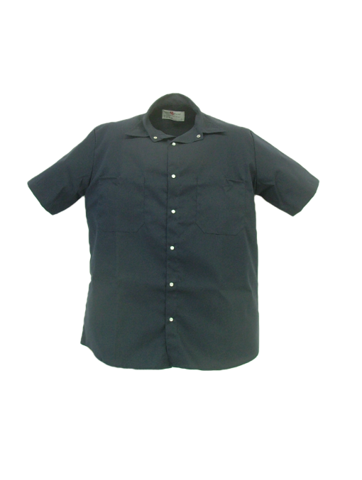 These shirts are made from a 65% polyester/35% cotton blend poplin fabric.  ~Made in Canada  ~2 chest pockets (1 with pencil slot)  ~pearl snap closure  ~machine washable    Available in navy, tan and light grey    Sizing and Pricing:  Sizes S, M, L, and XL ~ $32.07  Sizes XXL and 3XL ~ $35.53