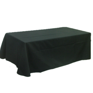 """Table cloth - Flat 8 ft. table cover: Dimensions: 126"""" x 64"""". Our table covers are made with a 65/35 poly/cotton twill fabric available in black, white, red, royal, tan, charcoal grey, navy and green. The rounded corners and neatly hemmed edges help make any display table look great. They are ideal for conventions, trade shows,  displays of any kind.    Price:  $65.00    Additional sizes available upon request."""