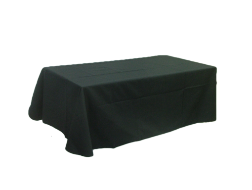 "Table cloth - Flat 8 ft. table cover: Dimensions: 126"" x 64"". Our table covers are made with a 65/35 poly/cotton twill fabric available in black, white, red, royal, tan, charcoal grey, navy and green. The rounded corners and neatly hemmed edges help make any display table look great. They are ideal for conventions, trade shows,  displays of any kind.    Price:  $65.00    Additional sizes available upon request."